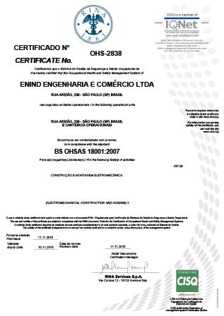 Certificado BS OHSAS 18001:2007